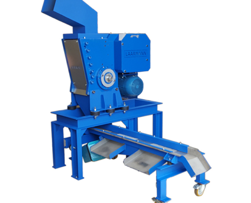 LMFC250 fine crusher with sieve street for dividing the output of the machine by size and custom hopper