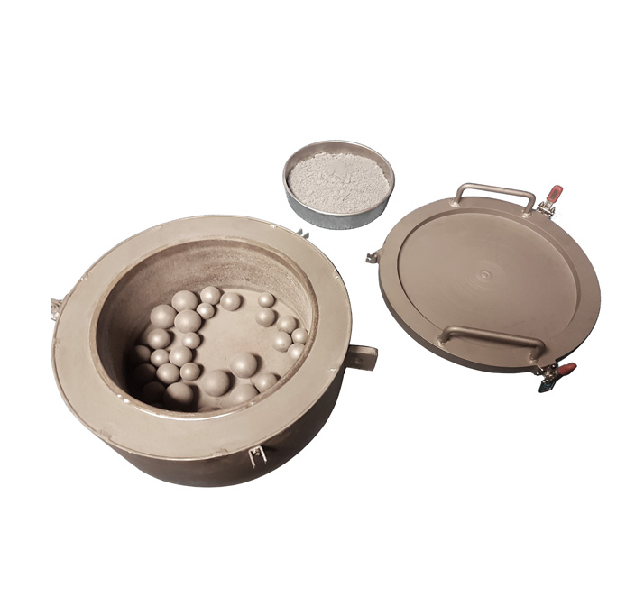 ball and rod mill drum with sample