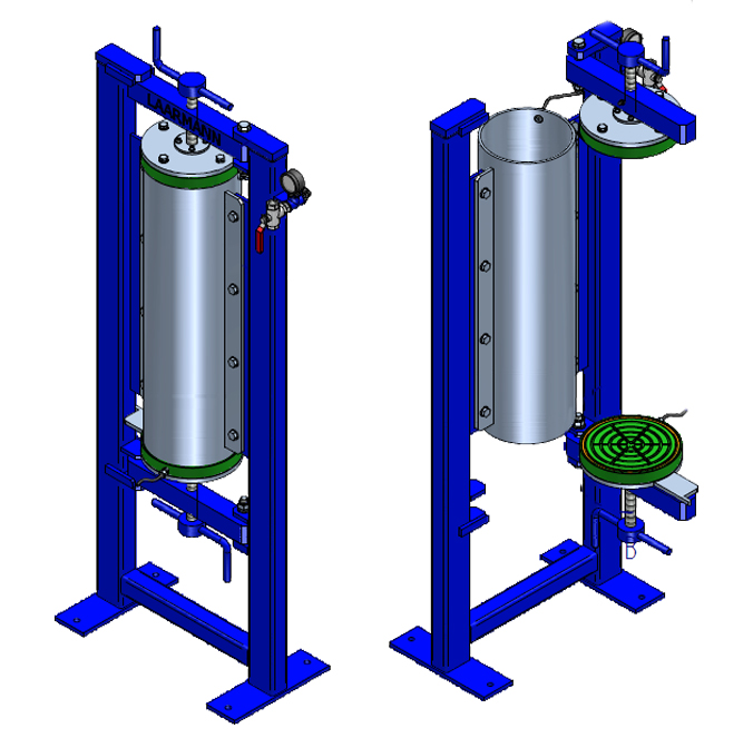 Pressure filter double spindle version technical drawing